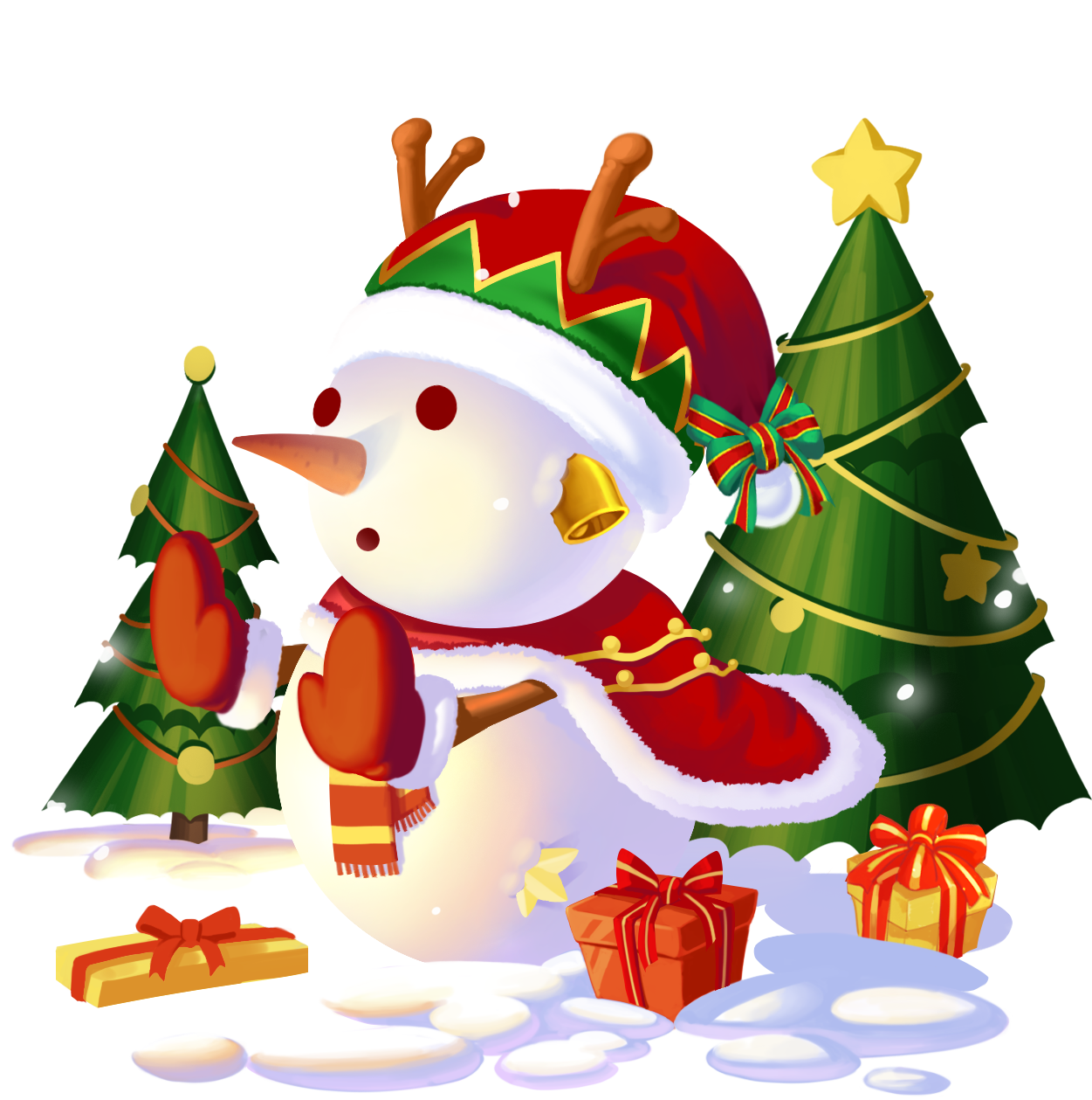 不言语却知心。陪玩收到礼物圣诞雪人
